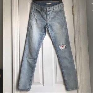 Levi's flower print patch skinny jeans